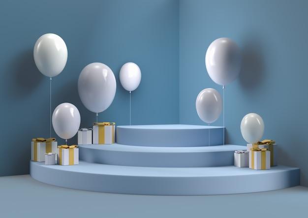 Caja de regalo con y globo escena de la esquina de la pared abstracta 3d que rinde podio de círculo mínimo