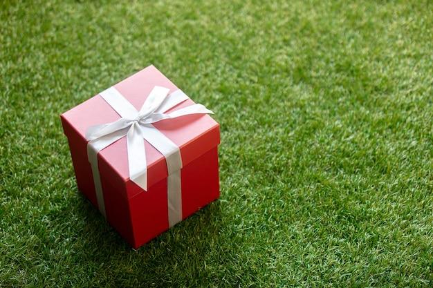 Caja de regalo con un lazo sobre la hierba verde. pov
