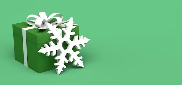 Caja de regalo de navidad con copo de nieve copia espacio ilustración 3d