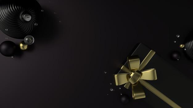 Caja de regalo negra elegante de navidad con una cinta dorada, fondo plano negro. representación 3d