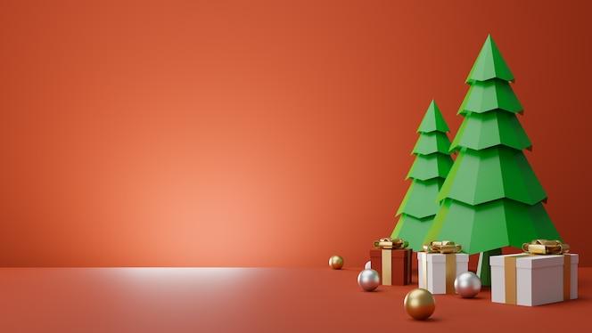 Caja de regalo y podio de árboles de navidad