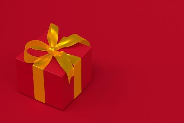 Caja de regalo roja 3d con lazo y cinta amarilla