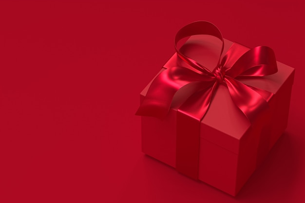 Caja de regalo roja 3d con lazo rojo y lazo