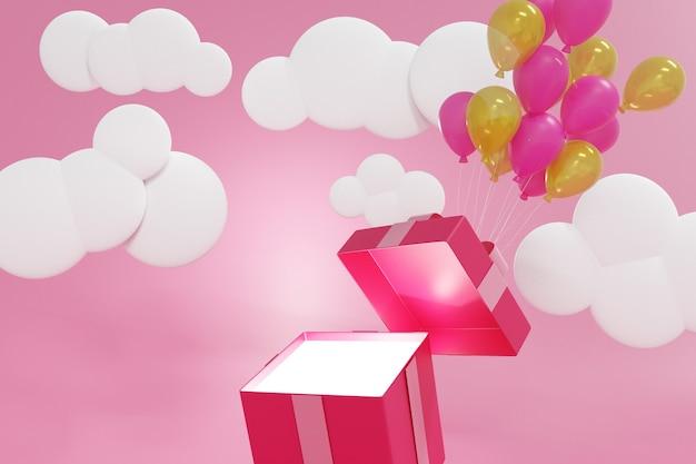 Caja de regalo rosa flotando por globos sobre fondo rosa pastel, render 3d.