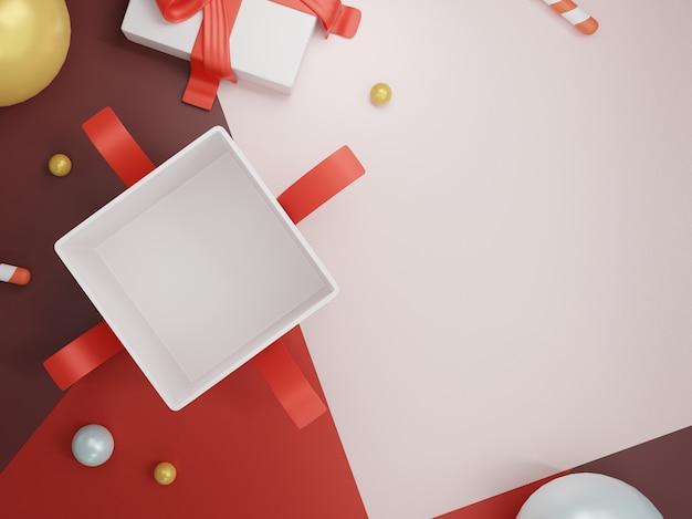 Caja de regalo sobre fondo de navidad. vista superior