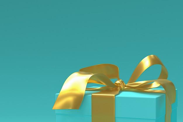 Caja de regalo verde 3d con cinta amarilla y lazo o