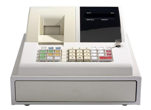 Caja registradora aislada en blanco.