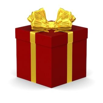 Caja roja con lazo dorado sobre fondo blanco. ilustración 3d aislada