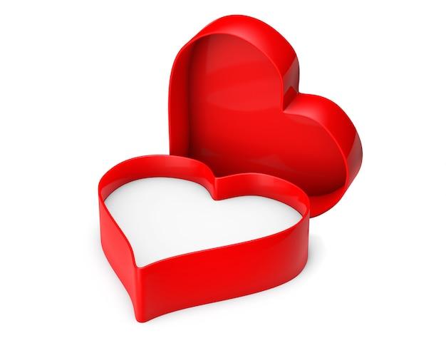 Caja de san valentín corazón vacío sobre un fondo blanco.