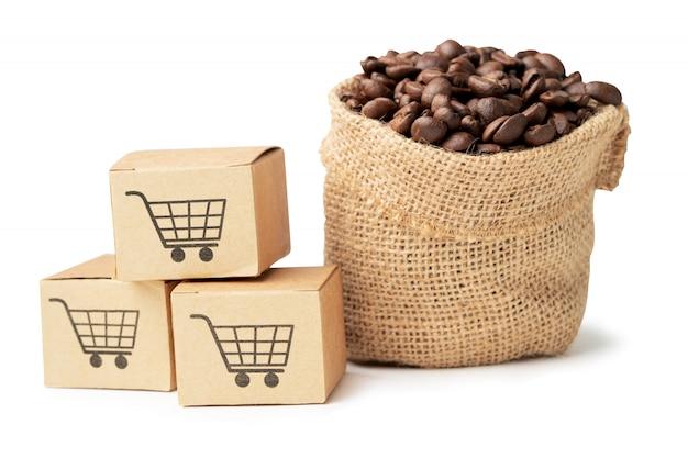 Caja con símbolo de logotipo de carrito de compras con granos de café en saco.