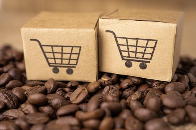 Caja con símbolo de logotipo de carrito de compras en granos de café