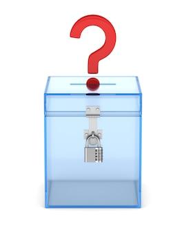 Caja de votación transparente y pregunta. representación 3d aislada