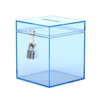 Caja de votación transparente. representación 3d aislada