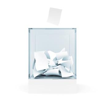 Caja de votación de vidrio con sobre aislado