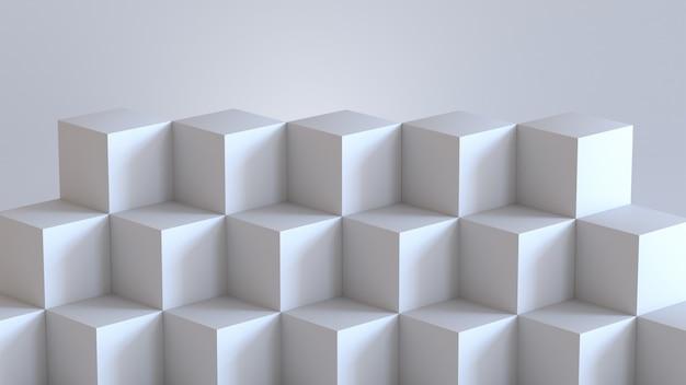Cajas blancas del cubo con el fondo blanco de pared en blanco. representación 3d.