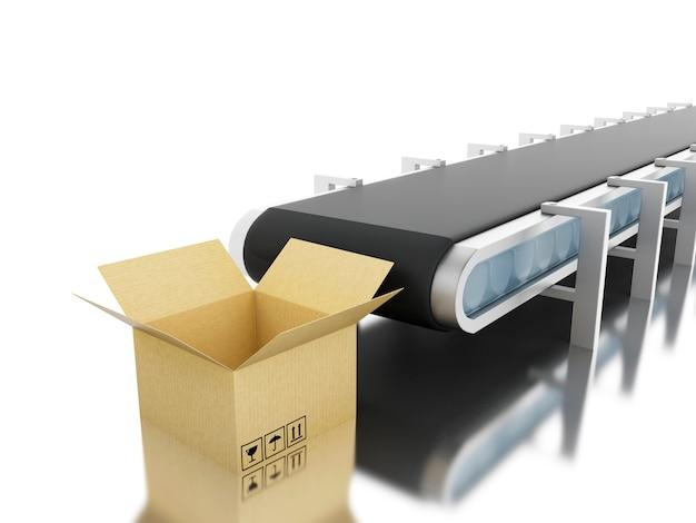 Cajas de cartón 3d con cinta transportadora.