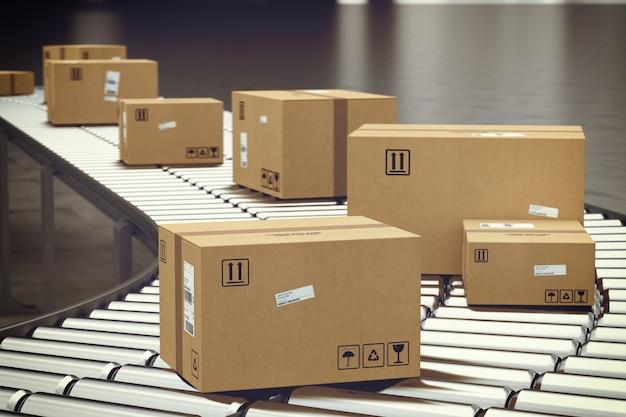 Cajas de cartón cerradas y envueltas con adhesivo sobre rodillo transportador. representación 3d