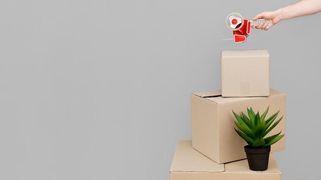 Cajas de cartón con espacio de copia.