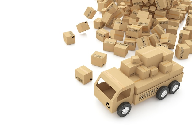 Cajas de cartón en la ilustración 3d de superficie blanca