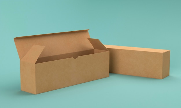 Cajas de cartón largas de color marrón sobre fondo azul.