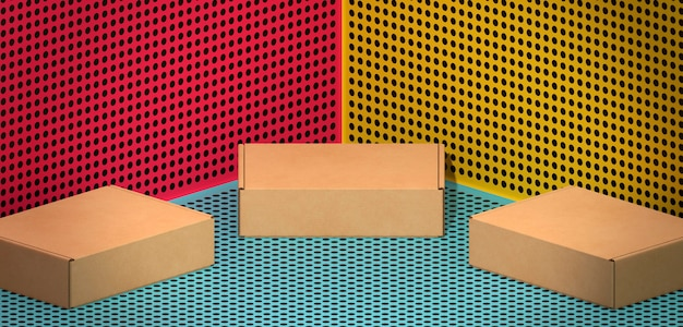Cajas de cartón marrón sobre fondo de comics