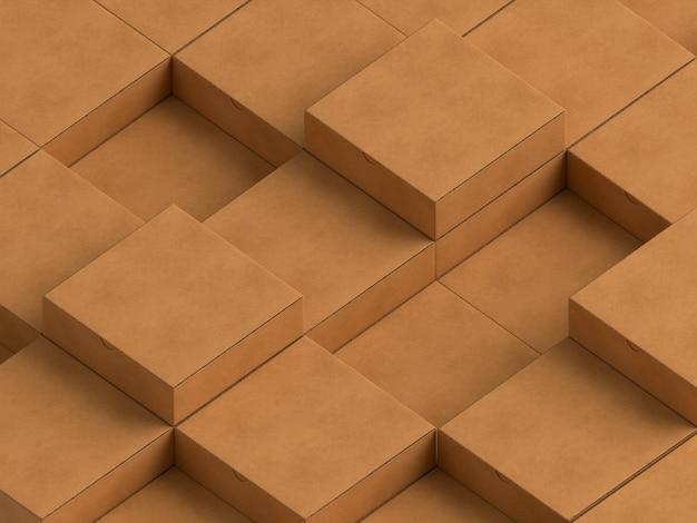 Cajas de cartón simplistas vacías marrones abarrotadas