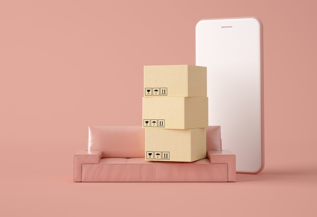 Cajas de cartón en un sofá y teléfono inteligente