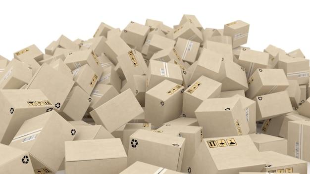 Cajas de correos apiladas en una gran pila de ilustración 3d