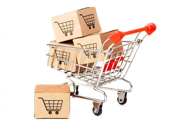 Cajas con logo de carrito de compras