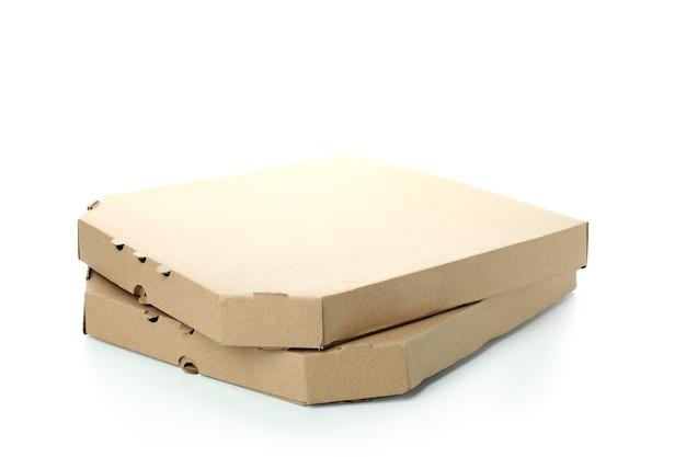 Cajas de pizza de papel aisladas en blanco
