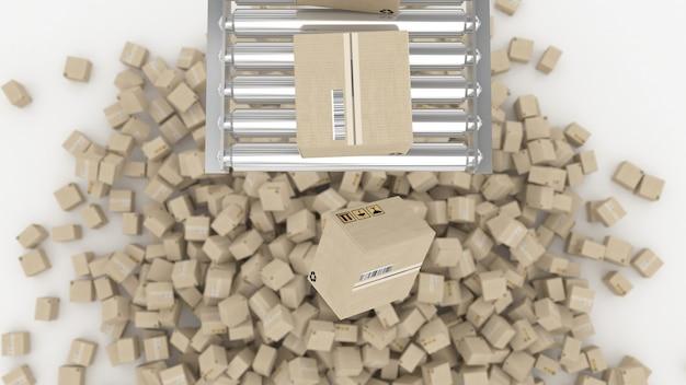 Cajas postales en movimiento en la ilustración 3d del transportador