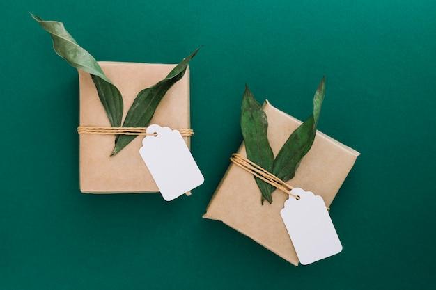 Cajas de regalo con etiqueta en blanco y hojas sobre fondo verde