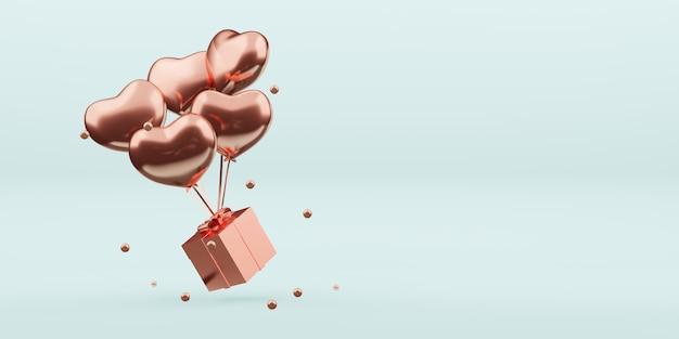 Cajas de regalo y globos adornos navideños decoración de año nuevo bola ilustración 3d