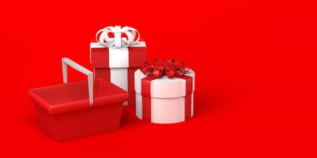 Cajas de regalo de navidad y cesta de la compra. copie el espacio. ilustración 3d.