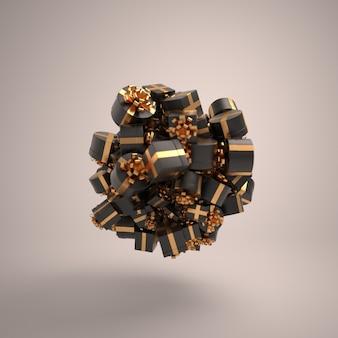 Cajas de regalos de navidad decoración de fondo de esfera con regalos negros birtdhay weddinganniversary