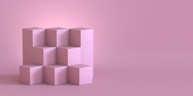 Cajas rosadas del cubo con el fondo de la pared en blanco. representación 3d.