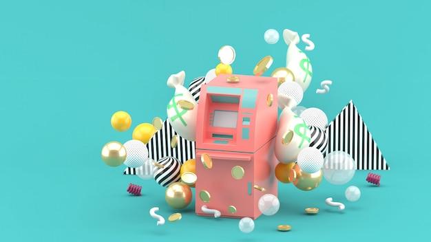 Cajero automático rosado entre el dinero y bolas coloridas en el azul. representación 3d