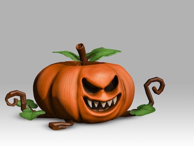 Calabaza 3d sobre fondo claro, malvado, fantasmagórico, fantasma, halloween