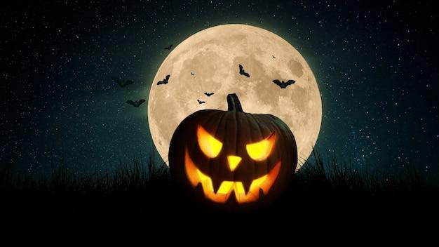 Calabaza aterradora y murciélagos en un campo con una luna llena de color naranja por la noche. feliz halloween fondo de pantalla oscuro