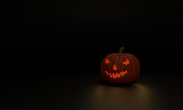 Calabaza fantasma 3d con una luz en el interior muestra el horror de halloween el fondo negro crea