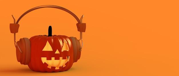 Calabaza de halloween con auriculares party background banner 3d ilustración