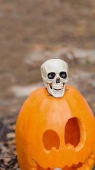 Calabaza de halloween en el bosque