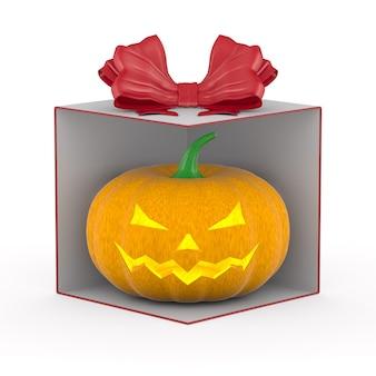 Calabaza de halloween en caja de regalo sobre fondo blanco. ilustración 3d aislada