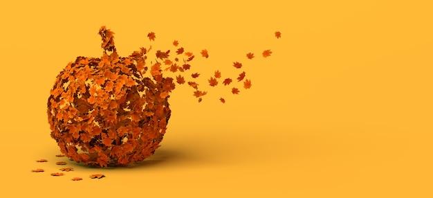 Calabaza de halloween descomponiéndose en hojas de otoño. copie el espacio. ilustración 3d.