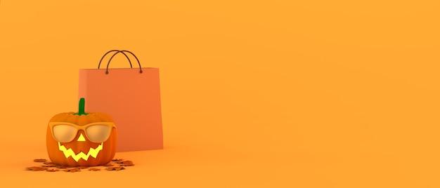 Calabaza de halloween con gafas de sol y bolsa de compras ilustración 3d espacio de copia