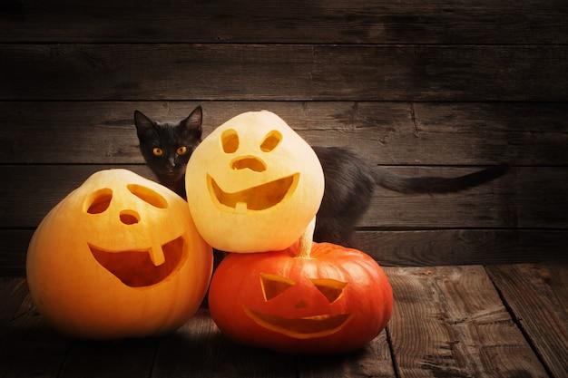 Calabaza de halloween y gato negro sobre fondo de madera