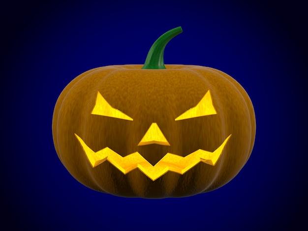 Calabaza de halloween sobre fondo azul. ilustración 3d aislada