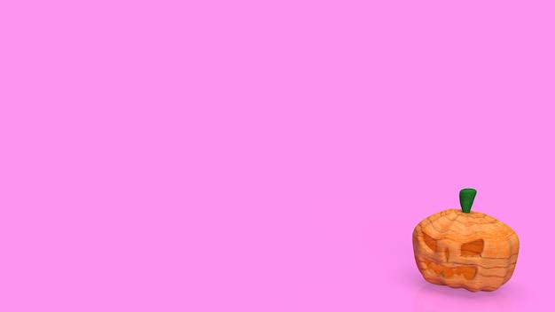 La calabaza de halloween sobre fondo rosa para la representación 3d del concepto de vacaciones