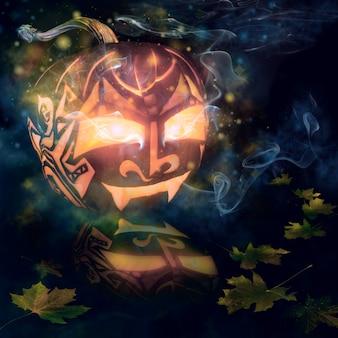 Calabaza de halloween con vela dentro