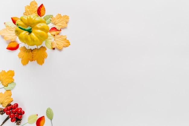 Calabaza y hojas de otoño en disposición